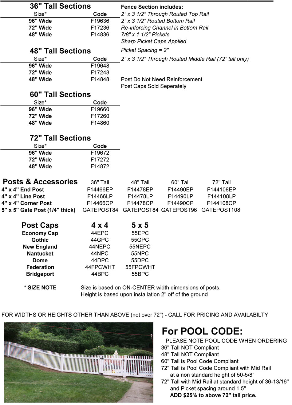 Fairmont 1 Size Information